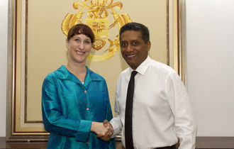 The new High Commissioner of Canada to the Republic of Seychelles, H.E. Mrs Pamela O'Donnell, presented her credentials to President Danny Faure in a ceremony held at State House.