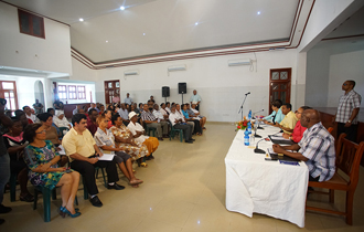 President Danny Faure conducted his first community leaders meeting of the year in the district of Roche Caiman.