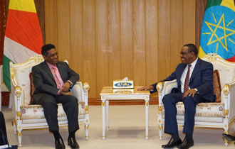 President Faure in a bilateral meeting with Ethiopian Prime Minister, Mr Haile Mariam Desalegn in the margin of the attend the 28th Ordinary Summit of the Africa Union.