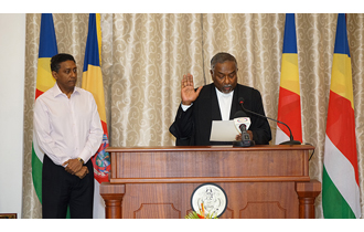 Judge Renaud Sworn In as Justice of the Court of Appeal before the President of the Republic, President Danny Faure