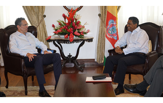 Outgoing Swedish Ambassador to Seychelles pays farewell visit on President Faure at State House
