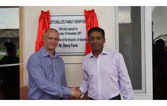 President Danny Faure inaugurated the newly built Seychelles Family Hospital Ile Perseverance.