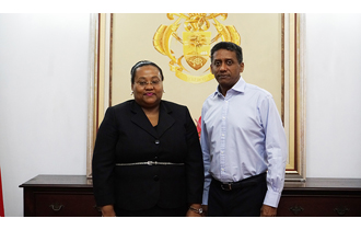 The new High Commissioner of the United Republic of Tanzania to the Republic of Seychelles, H.E Dr Pindi Chana, presented her credentials to President Danny Faure at State House.