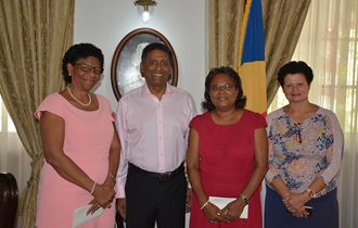 The President of the Republic, Mr Danny Faure, received a group of retirees at State House: Mrs Merline Volcère, Mrs Florianne Vidot and Mrs Josette Thélermont