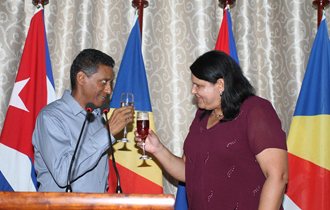 he President of the Republic, Mr Danny Faure hosted a reception at State House, in honour of Her Excellency Vice-President of the Council of State of the Republic of Cuba, Ms Mercedes López Acea on a two day official visit in Seychelles
