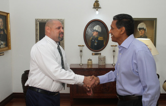 President Faure welcomes Steven Baccus to State House