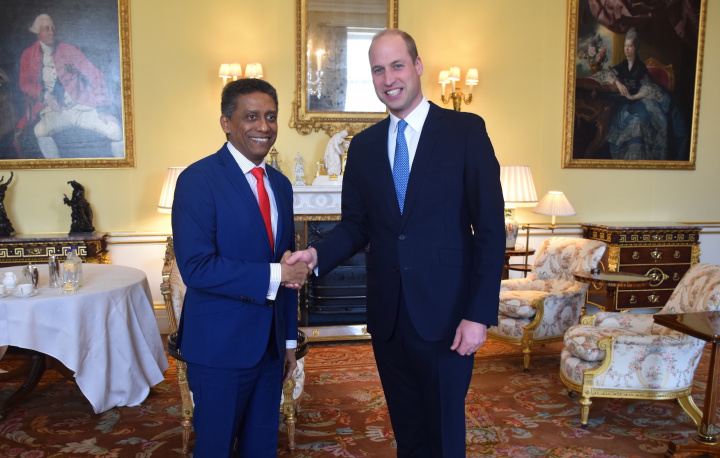 President Faure meets Prince William at Buckingham Palace