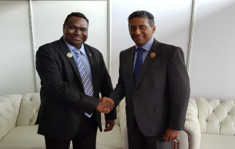 President Faure undertakes a bilateral discussion with H.E. Deputy Prime Minister of Papua New Guinea