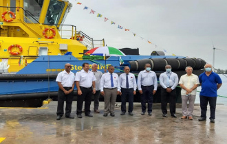 President Ramkalawan attends the inauguration ceremony of SPA's new tug boat