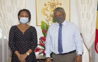 President receives accomplished Seychellois Teacher Miss Merna Eulentin