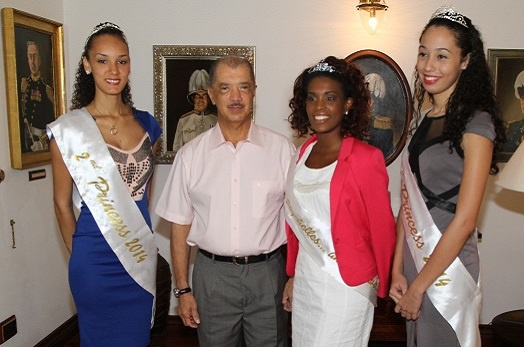 President Michel meets Miss Seychelles…Another World 2014