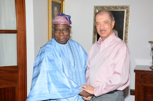 President Michel receives Former President Obasanjo at State House