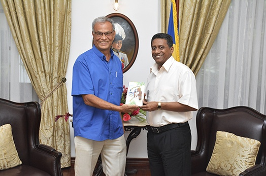 Seychellois Author Mr Grandcourt Pays Courtesy Call to President Faure