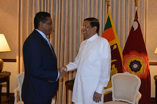 President Danny Faure holds bilateral talks with Mr Maithripala Sirisena President of Sri Lanka