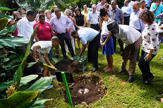 President Faure Commemorates World Environment Day 2017 with Coco De Mer Tree Planting at State House