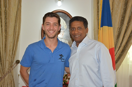 President Faure meets Seychellois Professional Triathlete