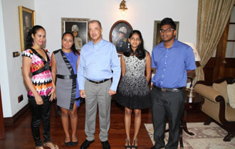 Fly high the Seychelles flag- President Michel meets Best A Level Students