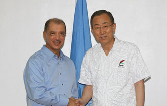 Small island developing states, climate change and piracy are focus of talks between Seychelles President James Michel and UNSG Ban Ki-moon