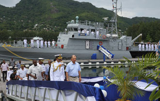 """ A milestone in our relations""- Indian Navy hands over patrol ship to Seychelles Coast Guard"