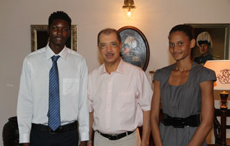 President Michel receives Seychellois Athletes who won golds at South African Open Athletic Championships