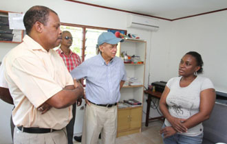 President Michel visits businesses at Port Glaud and Grand Anse