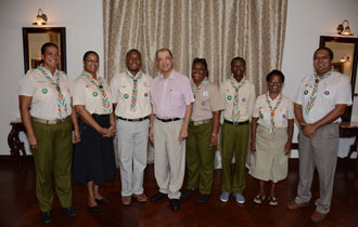 President Michel meets with representatives of the Seychelles Scouts Association