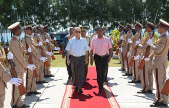 President Michel attends Promotion Ceremony of officers of the Seychelles People's Defence Forces