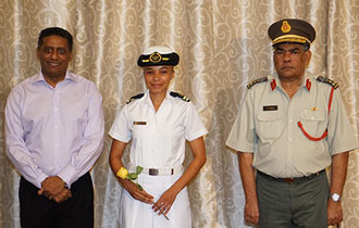 President Faure Promotes Officer of the Seychelles Coast Guard on International Women's Day