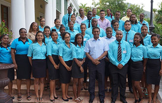 President Danny Faure receives members of the Seychelles National Youth Assembly at State House