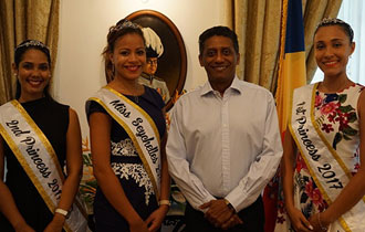 President Faure receives Miss Seychelles Another World 2017