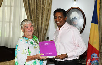 President Faure Meets with the author of the first trilingual dictionary in Seychelles