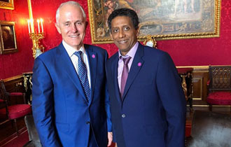 President Danny Faure meets Prime Minister Turnbull during CHOGM Retreat at Windsor Castle