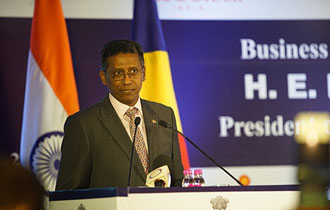 President Faure at the India-Seychelles Business Forum