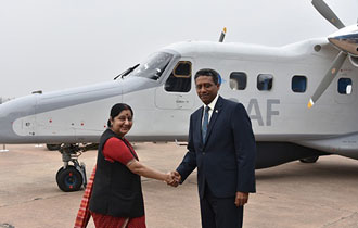 External Affairs Minister for India handed over Dornier Aircraft to President Danny Faure