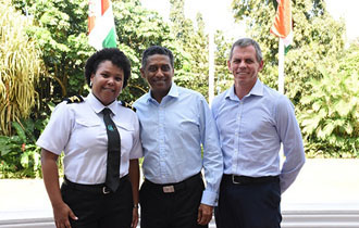 President Faure meets First Female Second Officer onboard Seychelles Tankers