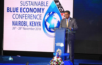 President Faure addresses the Global Conference on Sustainable Blue Economy